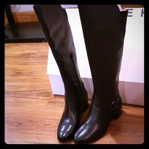 NEW Anne Klein Leather Tall Boots wide calf 8.5